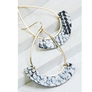 Open Tear Drop Snakeskin Crescent Dangle Earrings